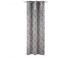 Cortina de ojales de algodón gris con estampado negro 110x250 - una unidad