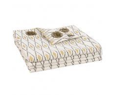 Cortina de ojales de algodón color crudo con motivos 105x270 - la unidad