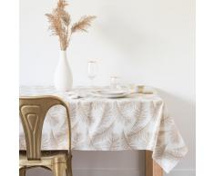 Mantel de algodón plastificado con estampado de plumas 140x250