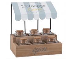 6 tarros de especias de cristal y corcho con soporte