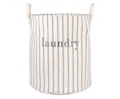 Cesta de la ropa de algodón color crudo con motivos de rayas azules y doradas