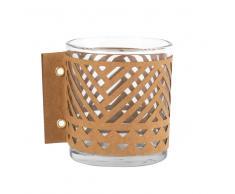 Candelero de cristal y papel calado marrón