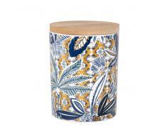Vela perfumada en tarro de cerámica con estampado tropical multicolor