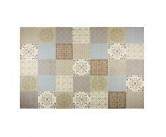 Alfombra con motivos de azulejos de cemento beige y azules 200x300 cm PROVENCE