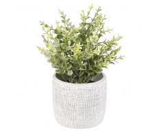 Planta artificial en maceta de cemento