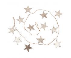 Guirnalda de Navidad con estrellas de purpurina dorada L.150