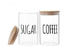 Tarros para azúcar y café de cristal con motivos y bambú (x2)