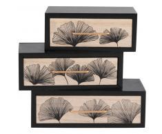 Caja de almacenaje negra con 3 cajones con motivos ginkgo