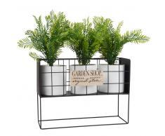 Jardinera con 3 macetas blancas y soporte de metal negro