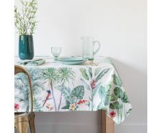 Mantel de algodón blanco con estampado de motivos vegetales 150x250