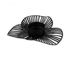Candelero flor de metal negro