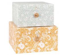 Cajas de cartón y papel con estampado floral gris y naranja (x2)