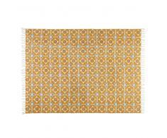 Alfombra de algodón con motivos de azulejos de cemento amarillo mostaza 160x230 cm