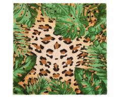 Felpudo de fibra de coco con estampado de leopardo 45x45