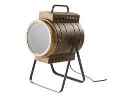 Lámpara proyector de metal color bronce con efecto envejecido