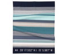 Paño de cocina de algodón con motivo de rayas azules y grises 50x70