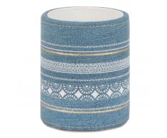 Portalápices de algodón azul vaquero con motivos decorativos de rayas