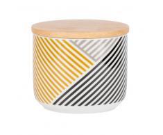 Tarro de loza con motivos de rayas y tapa de bambú
