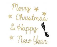 Guirnalda de Navidad con palabra de papel y purpurina dorada