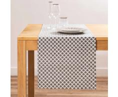 Camino de mesa de algodón gris con motivos L150