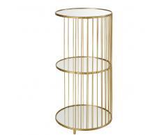 Estantería de 3 baldas de cristal y metal dorado