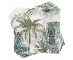 20 servilletas de papel con estampado tropical 33x33 GREEN PERROK