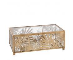 Joyero de cristal y metal calado dorado