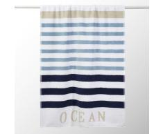 Toalla de ducha azul de rayas de algodón 70 × 140cm
