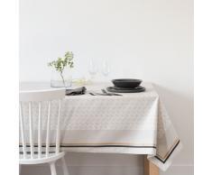 Mantel plastificado con motivos decorativos en beige y gris antracita 140x25