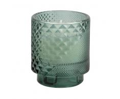 Vela en tarro de cristal tallado verde