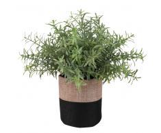 Planta suculenta artificial y maceta de yute bicolor Alt.18