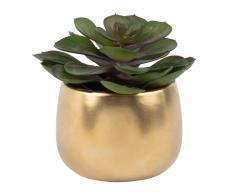 Planta suculenta artificial en maceta de cerámica decorada
