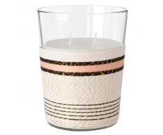 Vela perfumada en tarro de cristal con decoración de cuerda