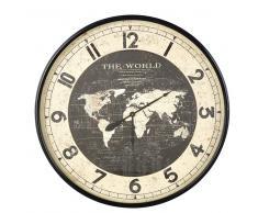 Reloj con mapamundi de metal negro D.96