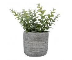 Planta artificial en maceta de cemento estriado