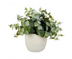 Planta artificial en maceta de cerámica blanca