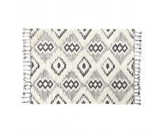 Alfombra tejida jacquard blanca y negra efecto shaggy 140x200