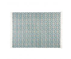Alfombra de algodón con motivos de azulejos de cemento azules 160x230 cm