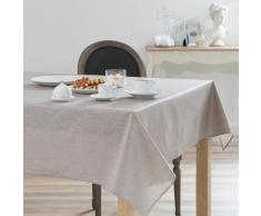 Mantel engomado lentejuelas de lino beige 140x250 LUX