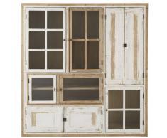 Vitrina con 9 puertas de pino reciclado blanco y vidrio templado Kinfolk