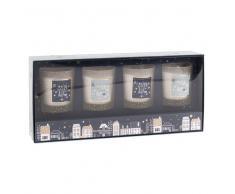 4 portavelas navideños perfumados en tarro de cristal con estampado