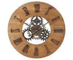 Reloj de engranajes de abeto y metal negro D.89