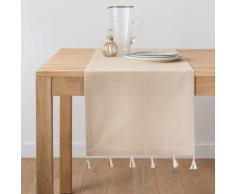 Camino de mesa con pompones de algodón beige irisado 40x150