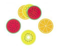 6 posavasos de cristal con motivos de frutas