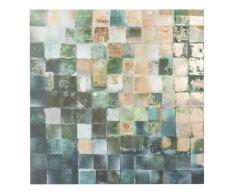 Lienzo con pequeños azulejos verdes y dorados 80x80
