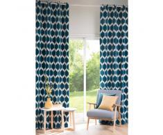 Cortina con motivos decorativos azul pato 140x300 - la unidad