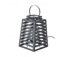Lámpara de exterior de metal gris mate