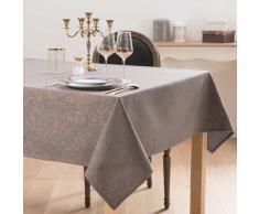 Mantel de algodón topo y lúrex dorado 150x250 TITICACA