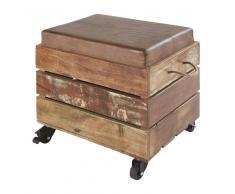 Taburete con almacenaje de madera reciclada y piel de cabra marrón