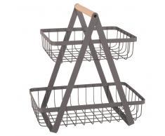 Doble cesta de metal gris antracita y haya